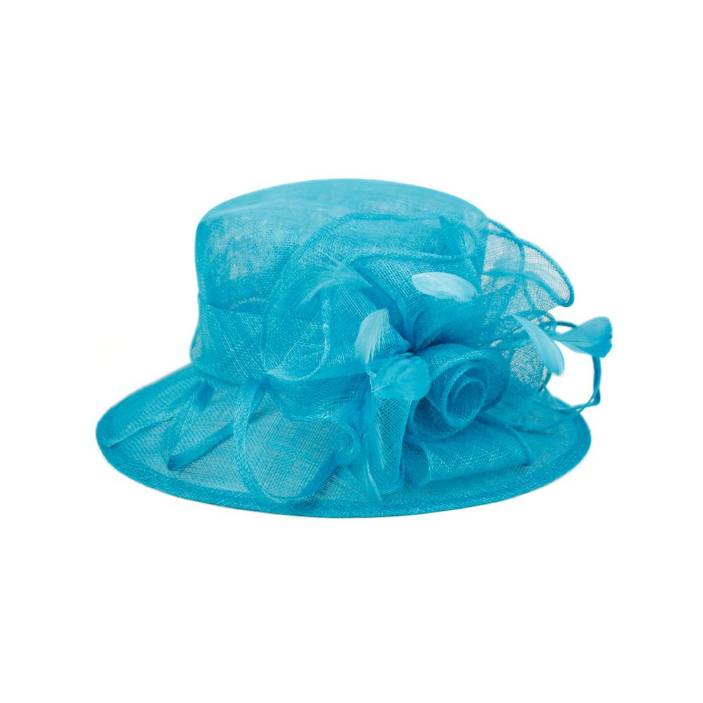 8 Units of SINAMAY FASCINATOR WITH FLOWER TRIM IN TORQUOISE - Church Hats