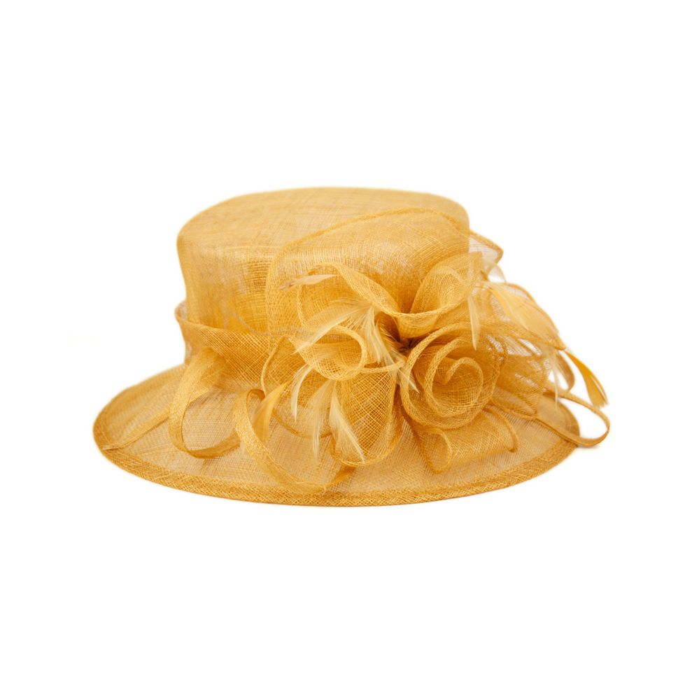 8 Units of SINAMAY FASCINATOR WITH FLOWER TRIM IN KHAKI - Church Hats