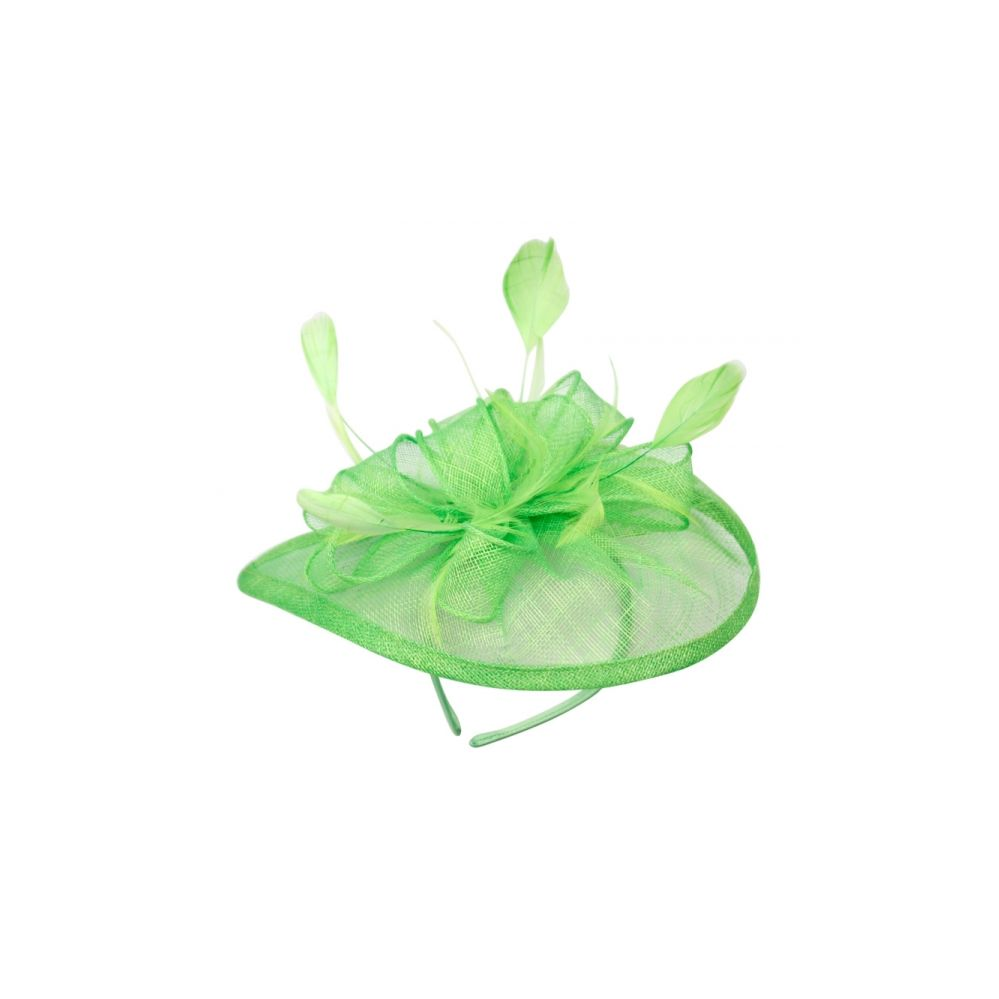 12 Units of SINAMAY FASCINATOR WITH FLOWER TRIM IN GREEN - Church Hats