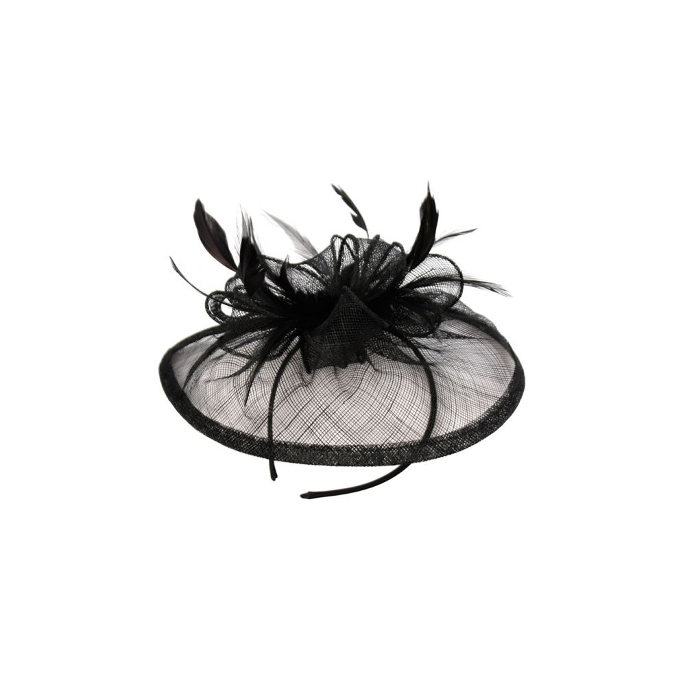 12 Units of SINAMAY FASCINATOR WITH FLOWER TRIM IN BLACK - Church Hats