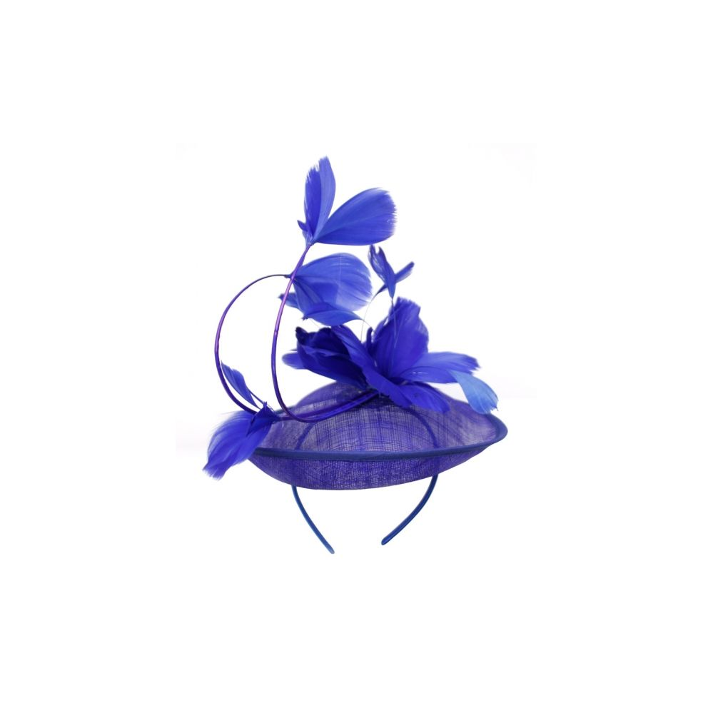 12 Units of SINAMAY FASCINATOR WITH FLOWER ON THE TOP IN ROYAL - Church Hats