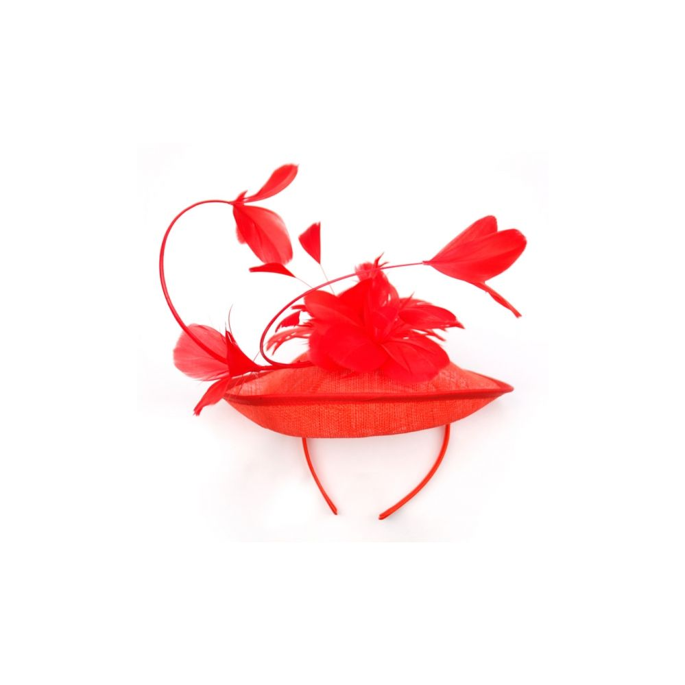 12 Units of SINAMAY FASCINATOR WITH FLOWER ON THE TOP IN RED - Church Hats