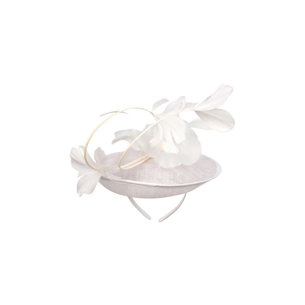12 Units of SINAMAY FASCINATOR WITH FLOWER ON THE TOP IN WHITE - Church Hats