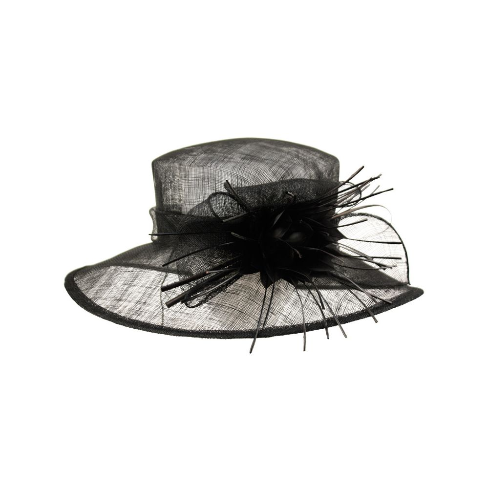 12 Units of SINAMAY FASCINATOR WITH BIG FLOWER TRIM IN BLACK - Church Hats
