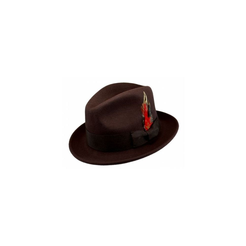 c106d4a1185 6 Units of WOOL FELT FEDORA HATS WITH FEATHER IN BROWN - Fedoras ...