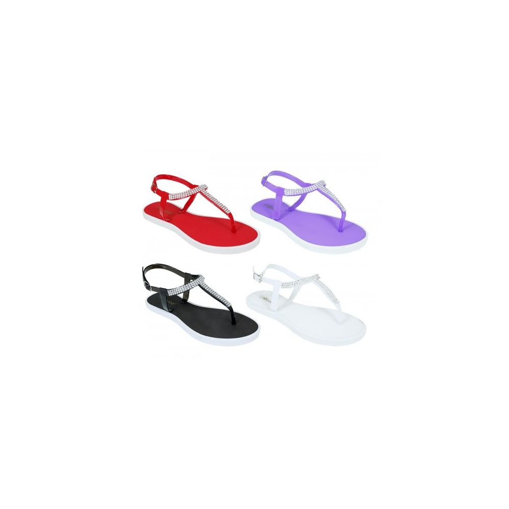 48 Units of Women's Thong Rhinestone Sandal