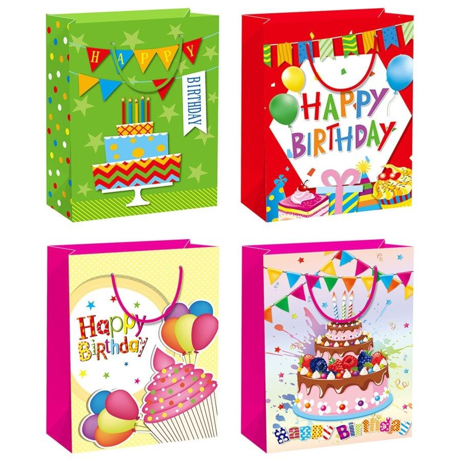 "144 Units of B'day HS 13x18x5.5""/X Large - Gift Bags"