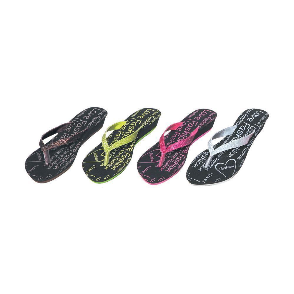 36 Units of Ladies Glitter Flip Flop Wedge Sandal