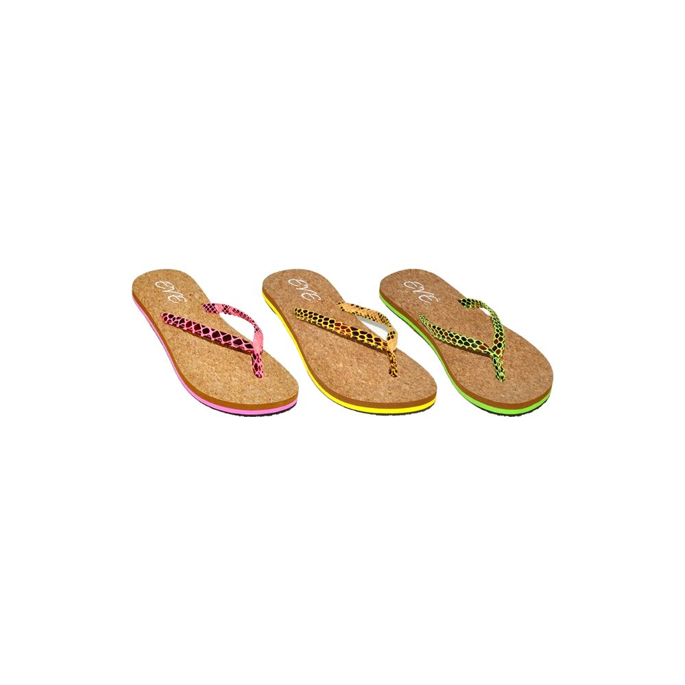 36 Units of Ladies Bright Color Flip Flops With Cork Bottom