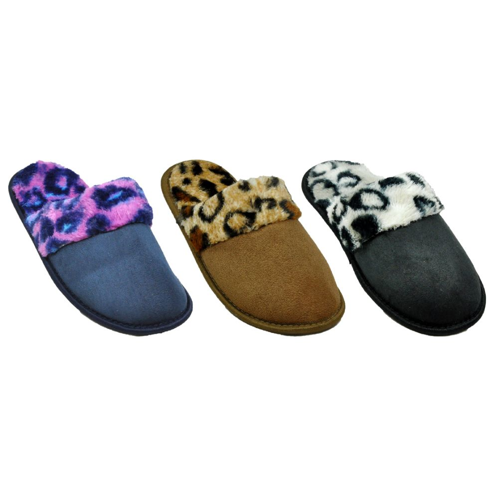 36 Units of Ladies Animal Print Plush Slippers