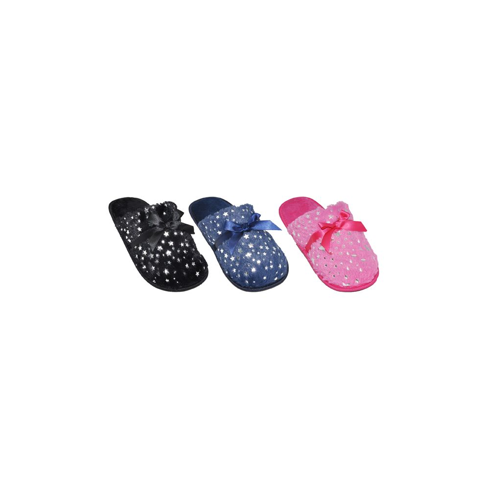 36 Units of Ladies Sparkle House Slippers With Bow - Womens Slippers
