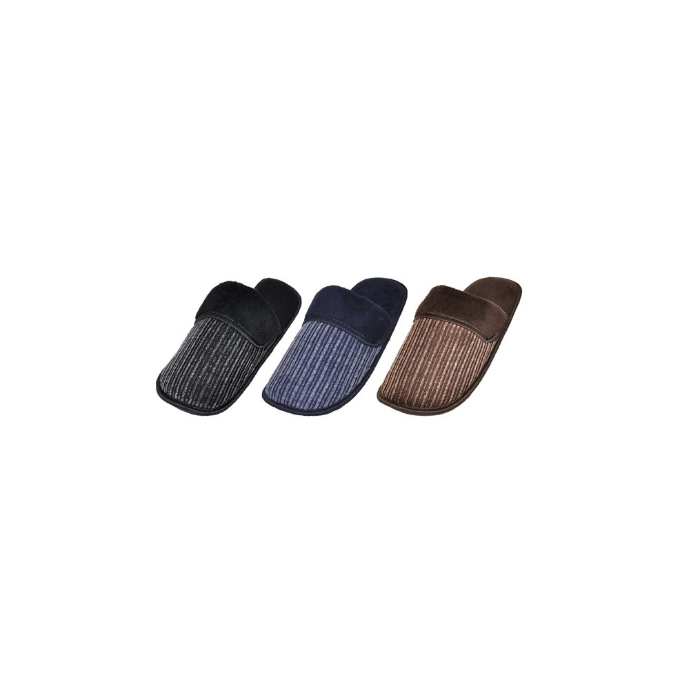 36 Units of Mens Ribbed House Slippers - Mens Slippers
