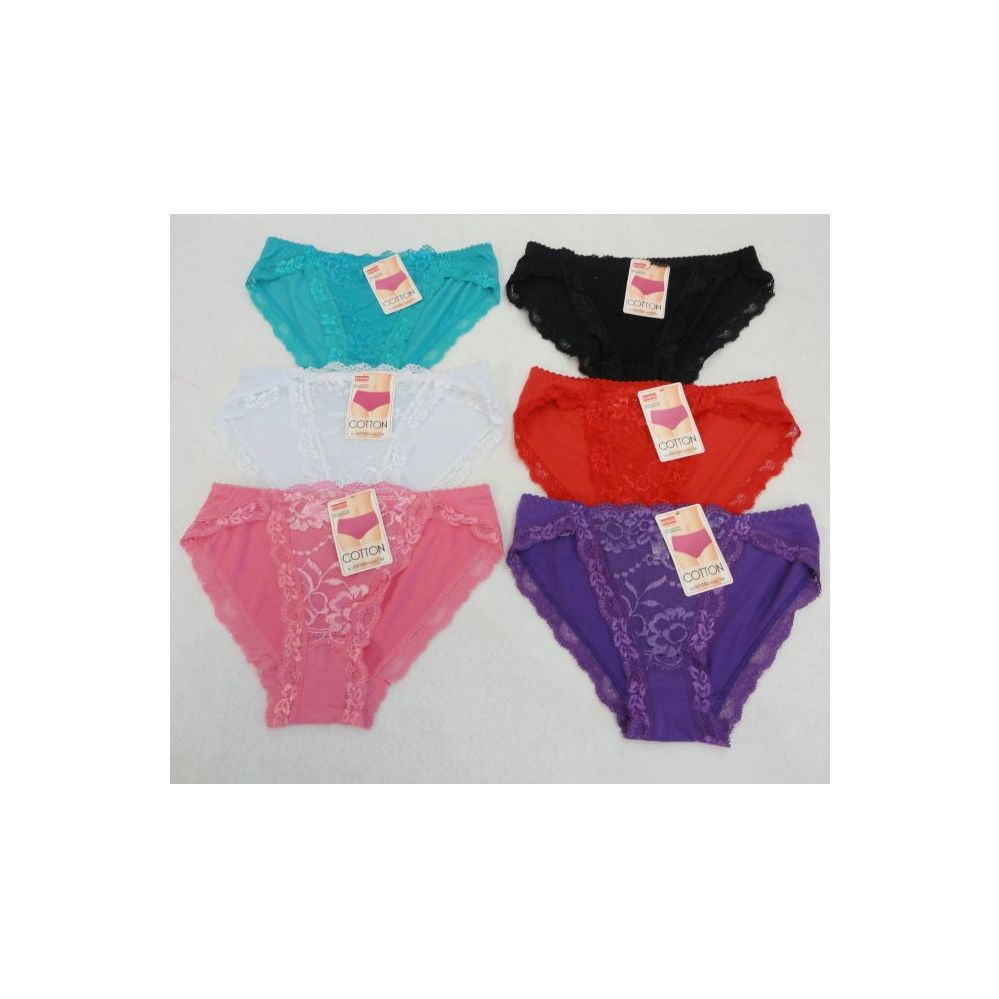 36 Units of Ladies Hi Cut Panties-Lace Front/Solid Back