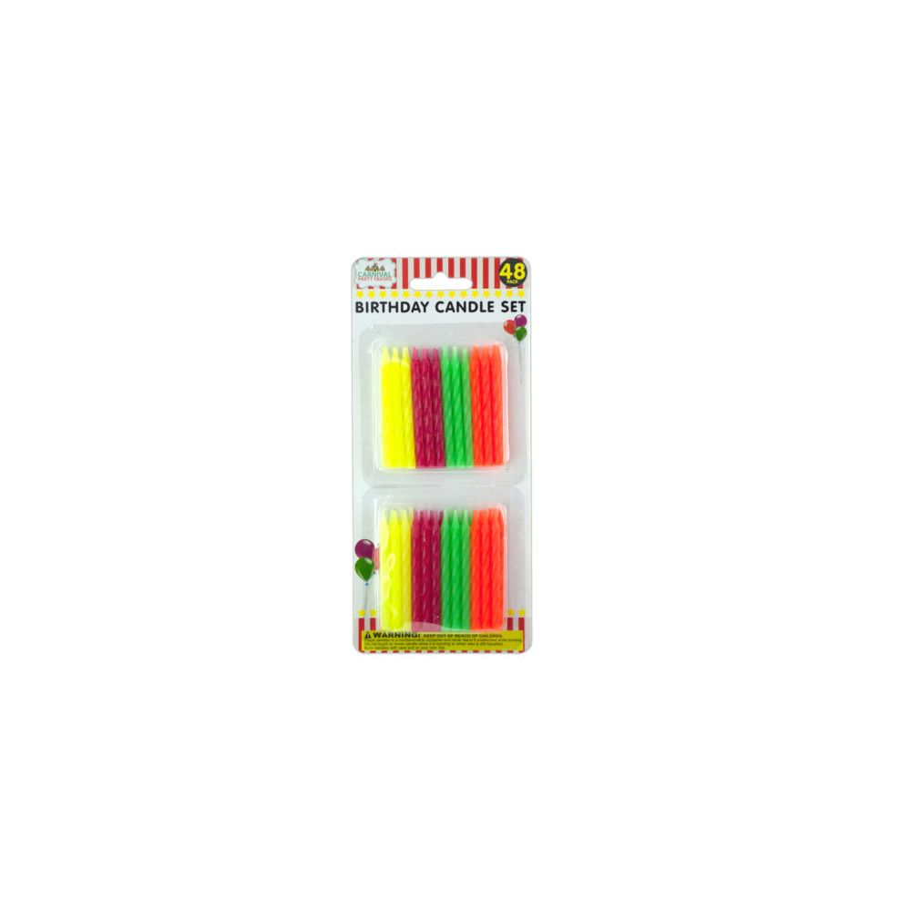 72 Units Of Colored Birthday Candle Set