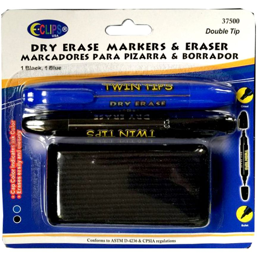 24 Units of Dry Erase Markers Twin Tips / Eraser - MARKERS/HIGHLIGHTERS