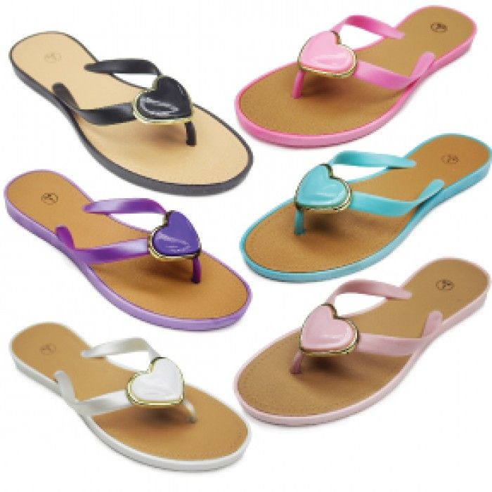 96 Units of Womans Fashion PVC Flip Flop With Heart Embellishment