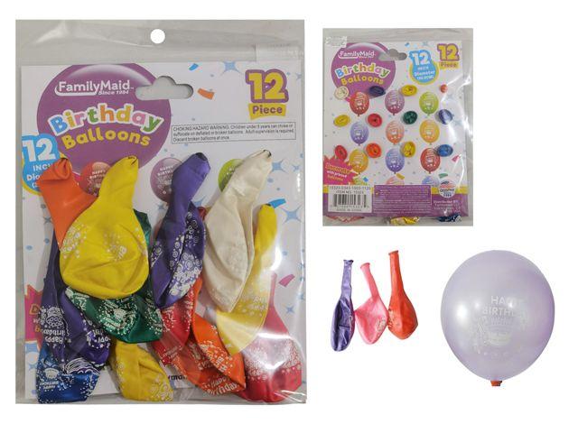 "96 Units of 12pc 12"" Happy Birthday Balloons"