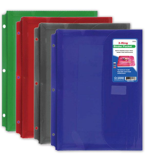 144 Units Of 3 Ring Binder Pockets Letter Size