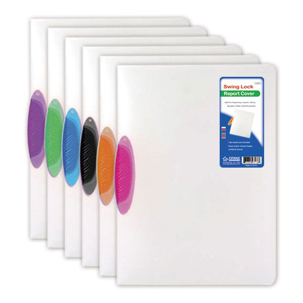96 units of swing lock report cover clear letter size folders and