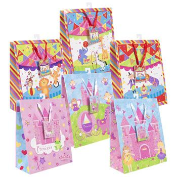 72 Units of Gift Bag Lg Circus/princess 6asst 10 X 12.5 X 5in