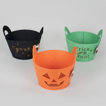 48 Units of Felt Diecut Mesh Lined Halloween Basket