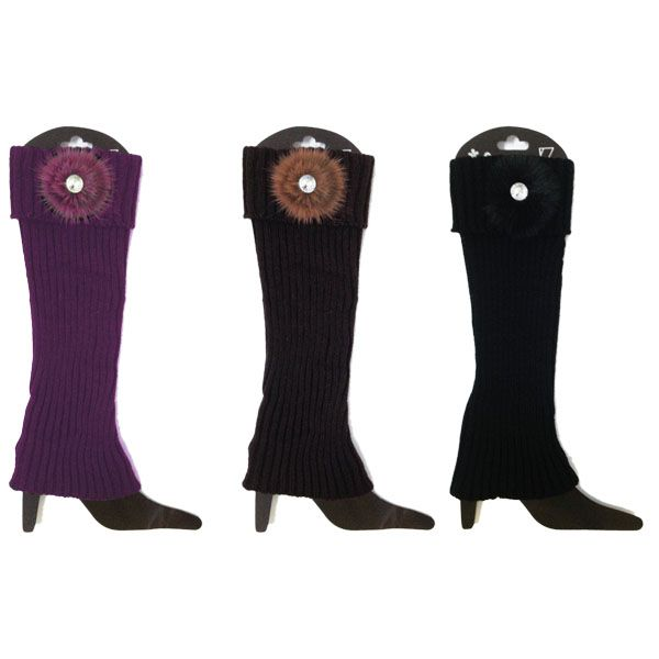 48 Units of Leg warmers Assorted Colors With Flower