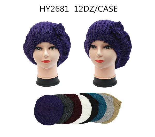 f741b91fa5d55 36 Units of Winter Heavy Knit Beret With Flower Assorted Colors - Winter  Beanie Hats - at - alltimetrading.com