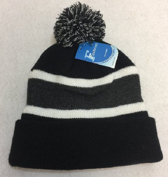 8c2a284dd199bd 60 Units of Double-Layer Knitted Hat with PomPom [Black/Dark Gray] - Winter  Beanie Hats - at - alltimetrading.com