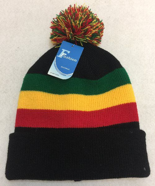 60 Units of Double-Layer Knitted Hat with PomPom  Black Green Yellow Red  -  Winter Beanie Hats - at - alltimetrading.com 40a72668d6d