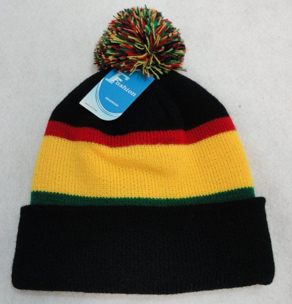 50c4866afe0f3 24 Units of Double-Layer Knitted Hat with PomPom  Black Red Yellow Green  - Winter  Beanie Hats - at - alltimetrading.com