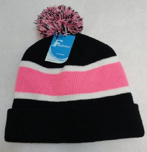 24 Units of Double-Layer Knitted Hat with PomPom  Black White Pink  - Winter  Beanie Hats - at - alltimetrading.com 9744d07db5c9