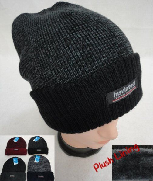 36 Units of Insulated Knitted Winter Hat with Plush Lining [Two-Tone] - Toboggan Hats