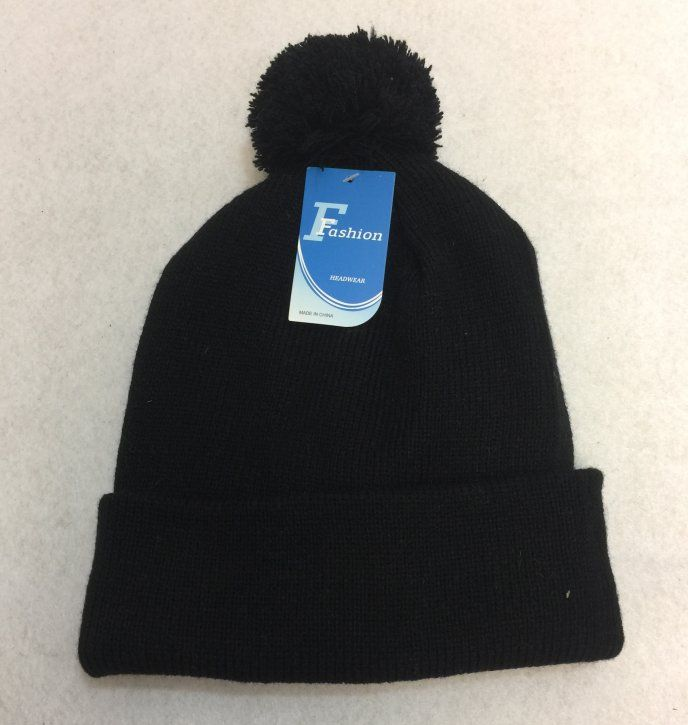 9eaa236ad6e9b 24 Units of Double-Layer Knitted Hat with PomPom [Black] - Winter Beanie  Hats - at - alltimetrading.com