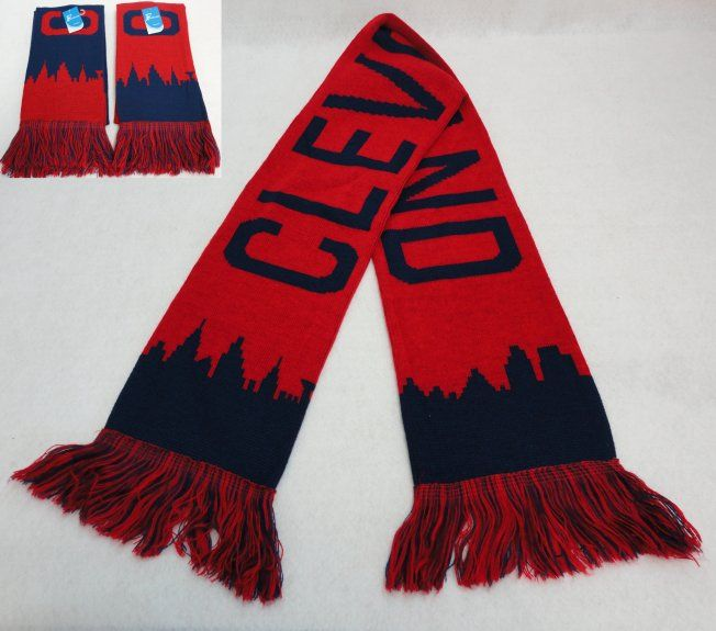 14095c5cf38 24 Units of Knitted Scarf with Fringe  CLEVELAND Skyline  Navy Red - Winter  Scarves - at - alltimetrading.com