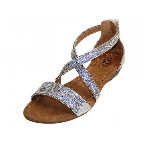 4d7a567e7060 18 Units of Women s Rhinestone Sandals (  Silver Color ) - Women s Sandals  - at - alltimetrading.com