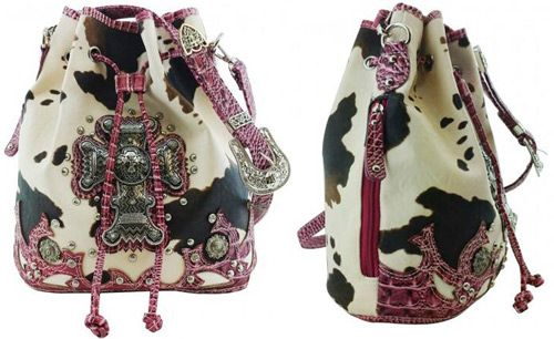 4 Units Of Cow Print Bucket Purse With Large Cross Fuchsia Leather Purses And Handbags