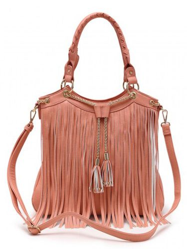 4 Units Of Fashion Purse With Long Fringes And Chain Peach Leather