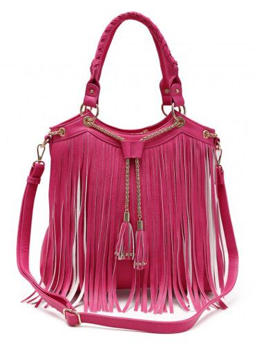4 Units Of Fashion Purse With Long Fringes And Chain Fuchsia