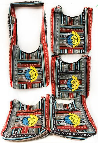 10 Units of Multicolor Patch Work Large Sun Moon Hobo Bag