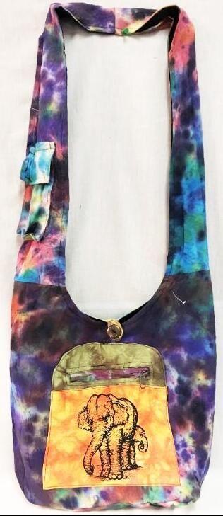 10 Units of Tye Dye Elephant Printed Hobo Bags