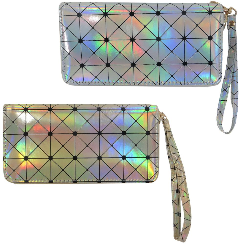301a2183d3c 36 Units of Geometric print metallic holographic one zip wallet with a  wristlet. - Leather Purses and Handbags - at - alltimetrading.com