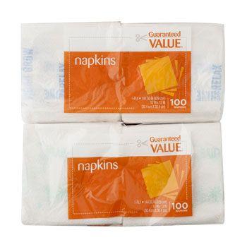 96 Units of Napkins 100 Ct Guaranteed Value Brand- Asst Green/blue Print