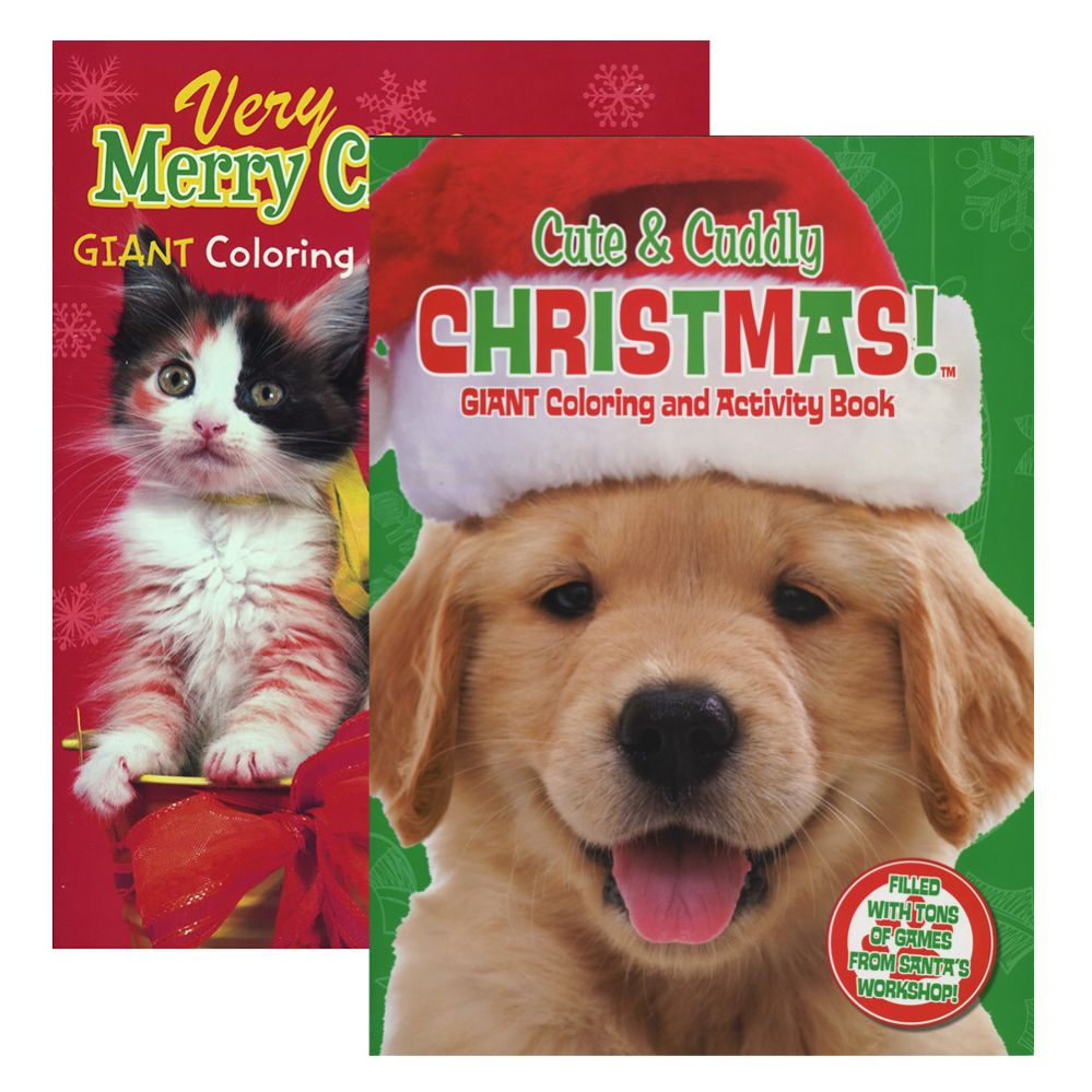 48 units of puppies kittens christmas coloring activity book