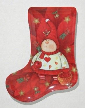 """24 Units of Plate, Stocking Shape- Red Elf, 9-1/2"""" - X-MAS"""