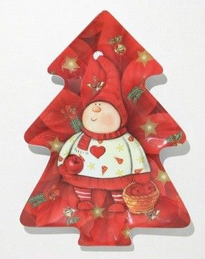 "24 Units of Plate ,Tree Shaped - Red Elf, 12"" - X-MAS"