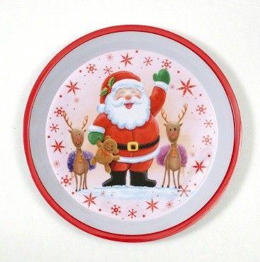 "24 Units of Christmas Tray - Round, Santa, 12"" - X-MAS"