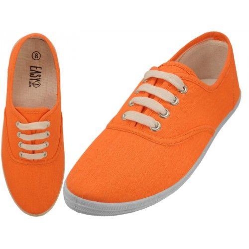 Casual Canvas Shoes ( *neon Orange
