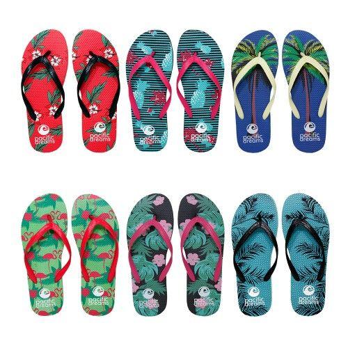 96 Units of Womens Flip Flop Assorted Palms - Women's Flip Flops