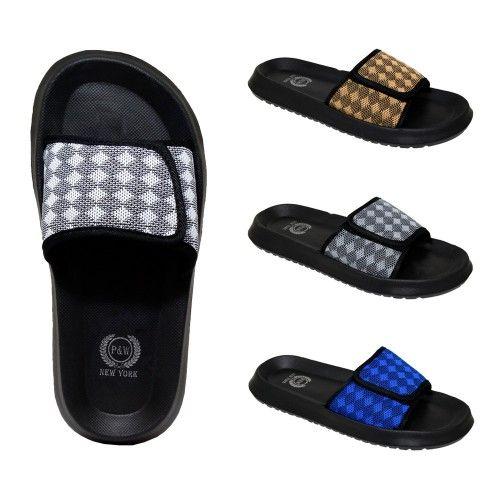 58508d551 48 Units of Men s Velcro Slides Diamonds Assorted Colors - Men s Slippers -  at - alltimetrading.com