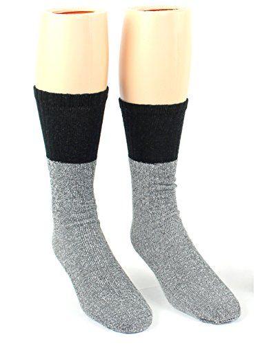 24 Pairs Pack of WSD Men's Thermal Tube Boot Socks, Value Pack, Athletic Socks (Grey w/ Black Tops, 10-13)